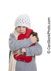 winter kid with hot water bottle