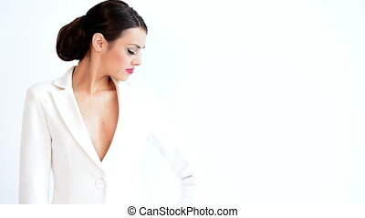 Sexy Business Woman Isolated on Whi
