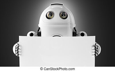 Android robot holding a blank board