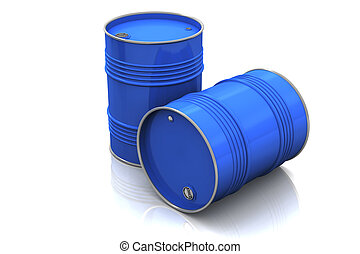Blue metal barrels on white background