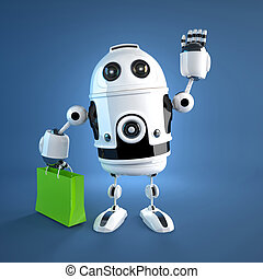 Android robot with shopping bag. Rendered on white...