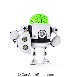 Android Robot with huge green brain. Artificial intellect...