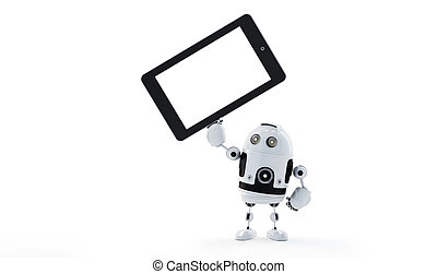 Android robot holding blank screen tablet