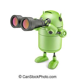 Robot looks in binoculars.