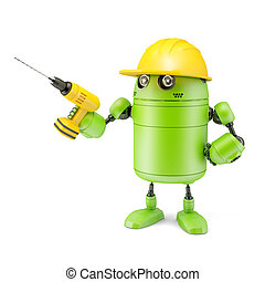 Android robot with drill Technology concept Isolated on...