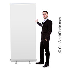 Business man showing Blank roll up banner display isolated...