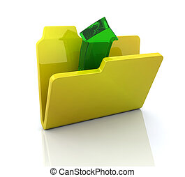 Icon for open folder - 3D computer icon for open folder