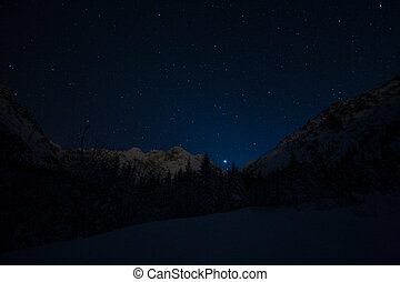 Starry night in mountain - Starry sky in Tatra mountains