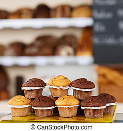 Muffins Arranged On Tray - Stack of muffins arranged on tray...