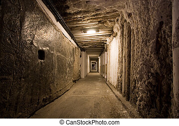Salty mine - Corridor in salt mine in Wieliczka Poland
