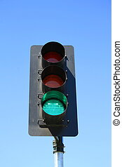 Traffic Light Showing Green Light - Close up of a traffic...