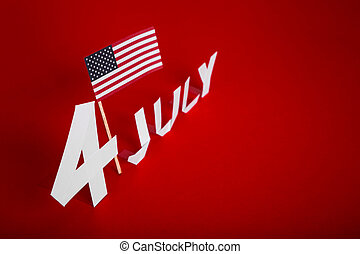 True paper cut of American Independence Day 4th July with...