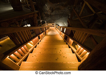 Ladder in salt mine in Wieliczka. Poland