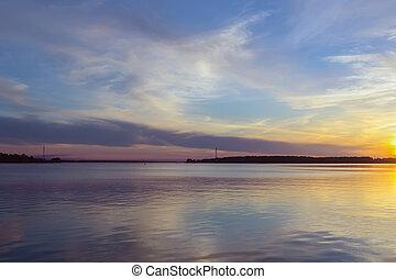 sunset on Volga, Russia - sunset on Volga river in Kostroma,...