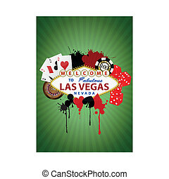 las vegas graphic - illustration of las vegas with object...
