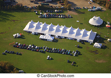 Aerial view of event tent in Vermont.