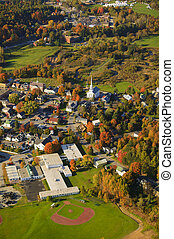 Aerial view of rural Vermont town. - Aerial fall foliage...