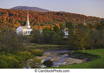 Fall foliage behind a rural Vermont church - Fall Foliage...