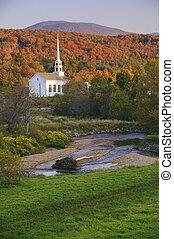 Fall foliage behind a rural Vermont church - Fall Foliage...