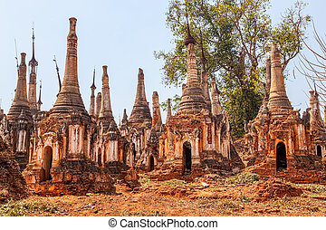 Indein, Inle Lake - Ancient Stupas at Indein, Inle Lake,...