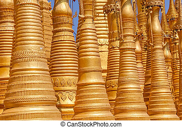 Indein, Inle Lake - Detail of Renovated Ancient Stupas at...