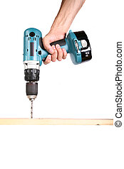 Cordless Drill  - Drilling Wood - Isolated on White