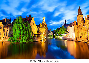 Famous view of Bruges at night - Night view of canal in...