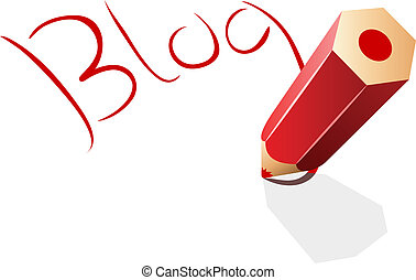 Blog concept vector illustration with red pencil