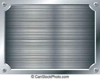 Blank metal plate vector background.