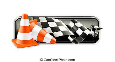 tráfego, correndo, bandeira,  cones
