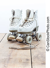 Rollerskates - Close up view of old rusched rollerskates