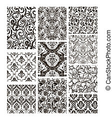 Set of ten patterns, black silhouettes
