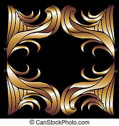 tribal design gold frame vector art
