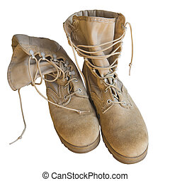 Army uniform shoes isolated - U.S. Army boots isolated on...