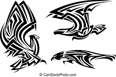Tribal eagle, hawk and falcon set for tattoo or heraldry...