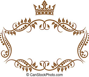 Elegant royal medieval frame with crown - Royal medieval...