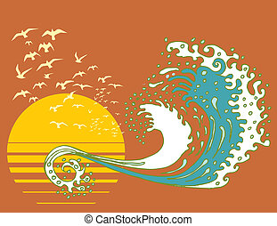 sun and water waves vector art