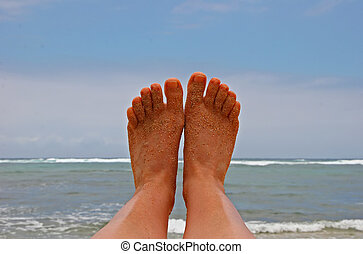 Feet Against Ocean - Sandy Bare Feet Against Hawaii Island...