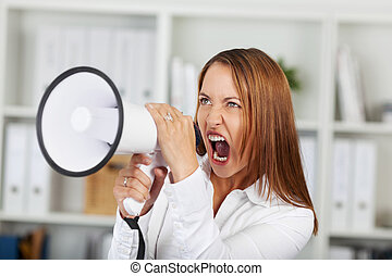 Frustrated Businesswoman Yelling Through Megaphone