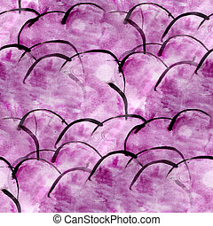 art avant-garde hand paint purple background seamless wallpaper watercolor abstract