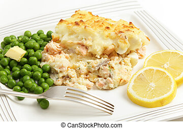 Salmon and potato pie - Salmon, egg and potato pie, served...