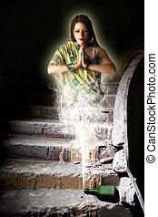fabulous girl genie out of the bottle in an abandoned room -...