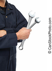 Hand of auto mechanic with wrench. - Hand of car mechanic...