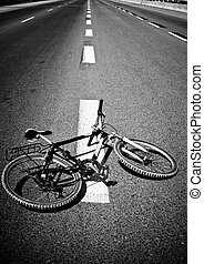 Bicycle on Road - Breakdow - Bicycle on Road Black And White...