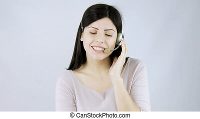 Call center woman talking - Beautiful call center woman...
