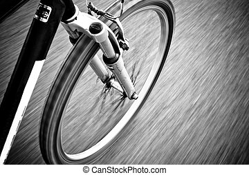 Bicycle on Road - Bicycle in Motion on Road Black And White...