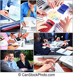 Business people team collage Teamwork background