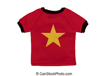 Small shirt with Vietnam flag isolated on white background