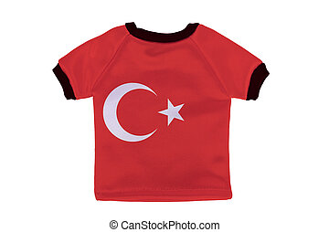 Small shirt with Turkey flag isolated on white background