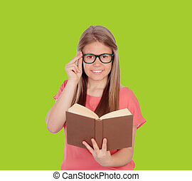 College student reading a book